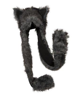 Gray & Black Critter Mitten Beanie