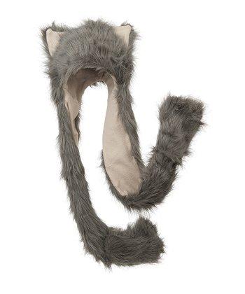 Gray & Beige Critter Mitten Beanie