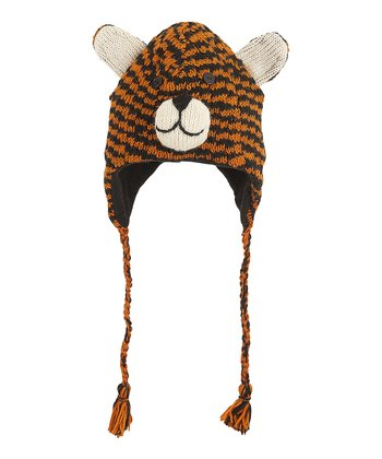 Orange & Black Tiger Wool Earflap Beanie