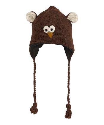 Dark Brown Owl Wool Earflap Beanie