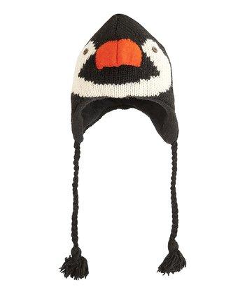 Black & White Penguin Wool Earflap Beanie