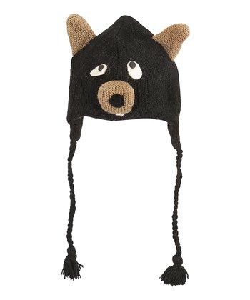 Black Bear Wool Earflap Beanie