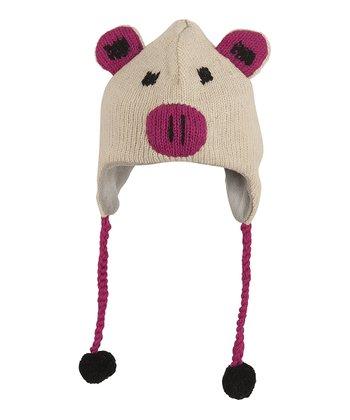 Pink Pig Wool Earflap Beanie
