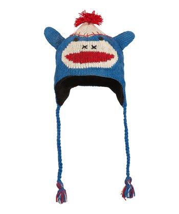 Blue Monkey Wool Earflap Beanie