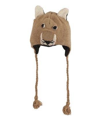 Beige Fox Wool Earflap Beanie