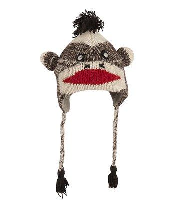 Brown & White Monkey Wool Earflap Beanie