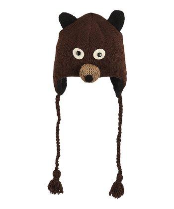 Dark Brown Bear Wool Earflap Beanie