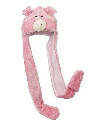 Pink & White Pig Mitten Beanie