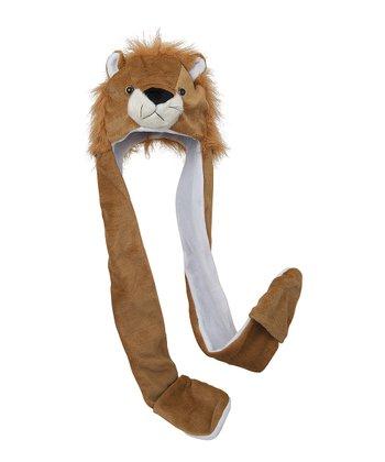 Brown & White Fuzzy Lion Mitten Beanie