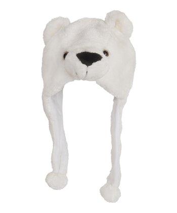 White Bear Earflap Beanie