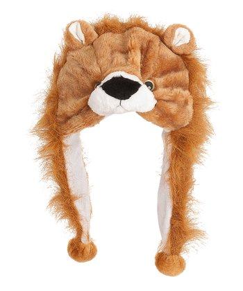 Brown Fuzzy Lion Earflap Beanie