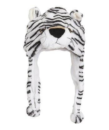 Black & White Tiger Earflap Beanie