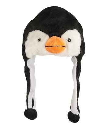 Black & White Penguin Earflap Beanie
