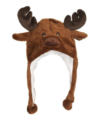 Brown Moose Earflap Beanie