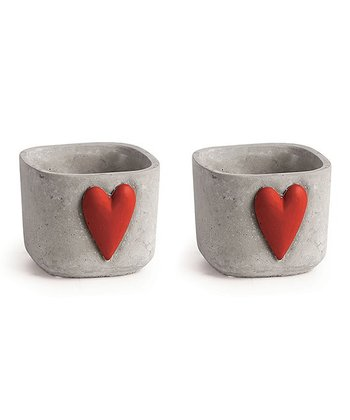 Red & White 3.25'' Heart Cachepot - Set of Two