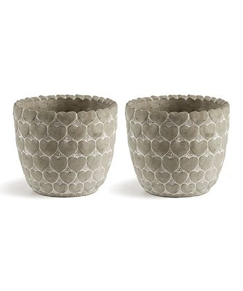 Gray 6'' Heart Cachepot - Set of Two