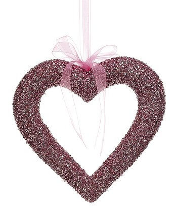 Pink Open Heart Ornament
