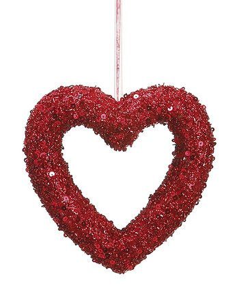Red 6'' Beaded Heart Ornament