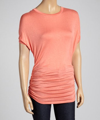 sun n moon Coral Ruched Dolman Top