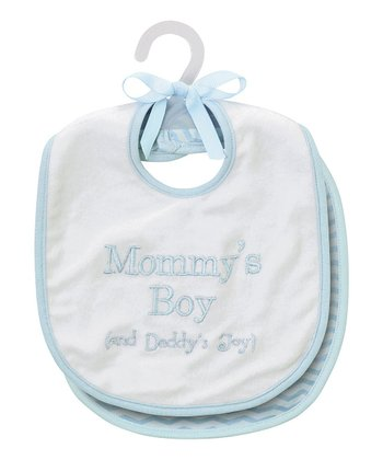 Blue 'Mommy's Boy' Bib Set