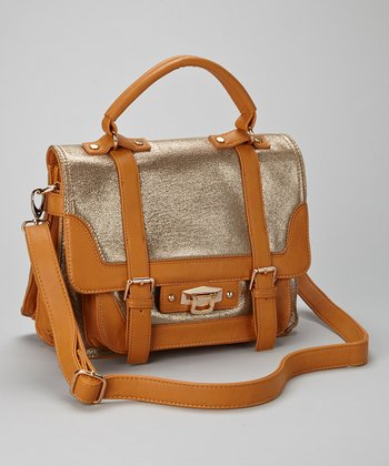 Camel Metallic Satchel