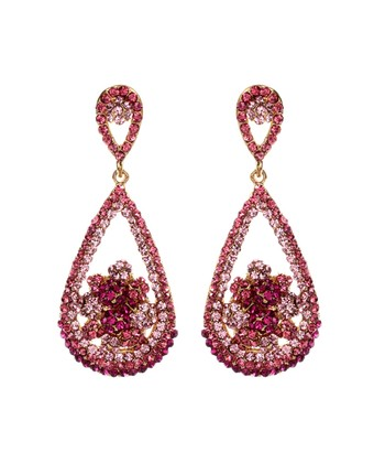 Pink Floral Le Cirque Teardrop Earrings