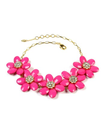 Fuchsia & Gold Floral Nancy Bib Necklace