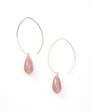 Red Star Quartz & Gold Briolette Teardrop Earrings