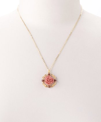 Pink & Gold Vintage-Style Rose Pendant Necklace
