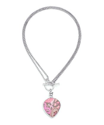 Pink & Silver Paisley Heart Pendant Necklace