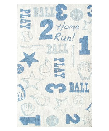 White & Blue Retro Ball Rug