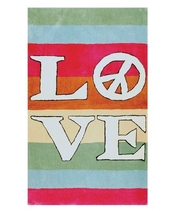 Pink & Blue 'Love' Stripe Rug