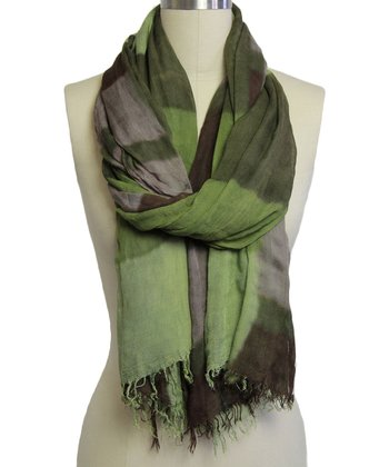 Green & Deep Coffee Color Block Scarf
