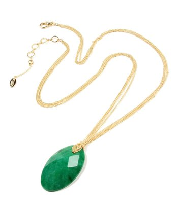 Gold & Green Hampton Agate Pendant Necklace