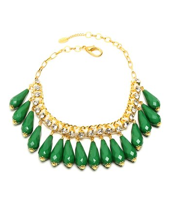 Gold & Evergreen Crystal Milly Necklace
