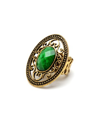 Gold & Evergreen Napeague Stretch Ring