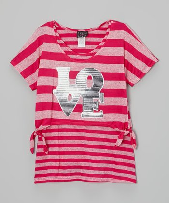 Fuchsia Stripe 'Love' Tie Layered Top - Girls' Plus