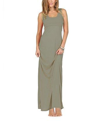 Smoky Gray Sleeveless Maternity & Nursing Maxi Dress