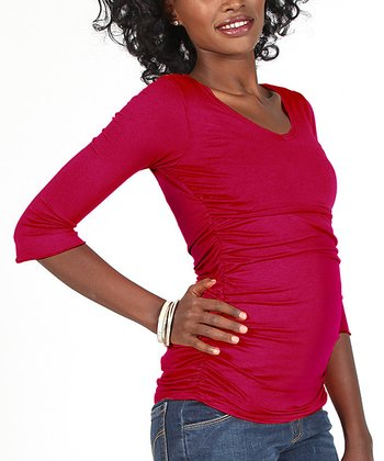 Red Ruched Maternity & Nursing Three-Quarter Sleeve Top