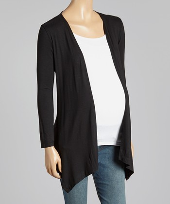 Black Sidetail Maternity Open Cardigan