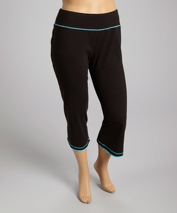 Black & Aqua Blue Capri Pants - Plus