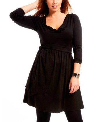 Black Dulleml Cowl Neck Dress - Plus