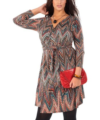 Blue & Red Zigzag Robeporte Surplice Dress - Plus