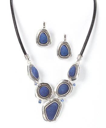 Silver & Lapis Necklace & Drop Earrings