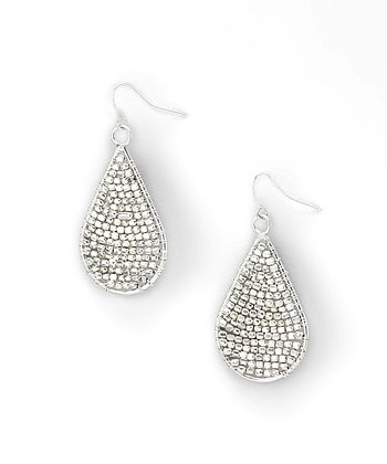Silver Beaded Teardrop Earrings