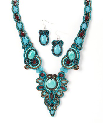 Turquoise & Brown Bead Necklace & Drop Earrings