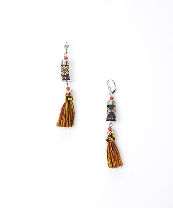 Silver Tapestry Tassel Drop Earrings
