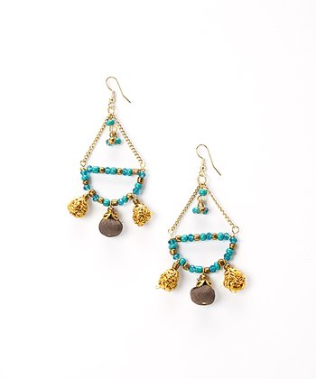 Gold & Aqua Beaded Chandelier Earrings
