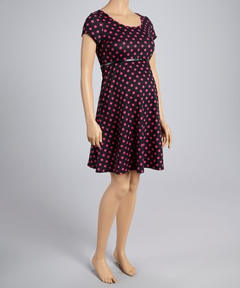 Mom & Co. Black & Fuchsia Polka Dot Belted Maternity Dress - Women