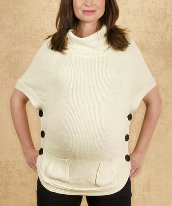 Off-White Sophia Wool Maternity Cape-Sleeve Top